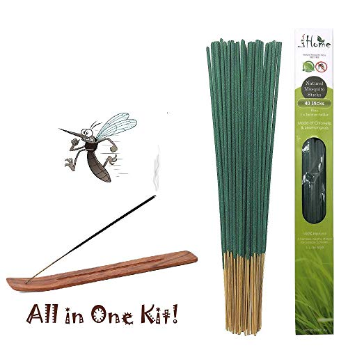 Lovhome Mosquito Sticks, Natural Insect Repellent Incense Stick(40 Sticks Plus 1 Incense Holder/Box), Citronella & Lemongrass Incense