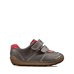 Clarks Tiny Dusk Toddler Grey Leather Childrens Rip Tape Pre Walker Shoes