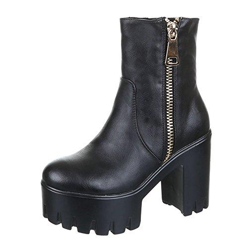 Ital-Design Damen Schuhe, JH16256-1, Boots Schwarz