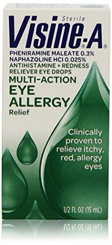 Visine-A Sterile Multi-Action Eye Allergy Relief Drops 1/2 Oz (2 Pack)