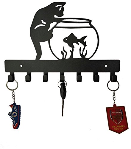 HeavenlyKraft Cat and Fish Wall Mounted Metal Key Holder, Key Rack Organizer for Entryway and Kitchen - Wall Mounted, Key Organizer, Metal Key hook, 10.6 X 7 X 0.8 INCH