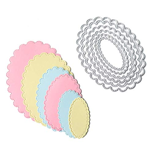 Letmefun 6pcs/Set Oval Circle Scallop Frame Cutting Dies Metal Cutting Dies Stencils Decorative Scrapbooking Steel Craft Die Cut Create Stamp Embossing Paper - Oval Scallop