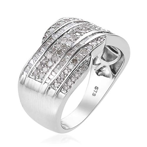 925 Sterling Silver Round Diamond Cluster Ring Platinum Plated Jewelry Gift for Women Size 8 Ct 0.8