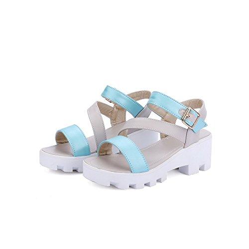 AllhqFashion Women's PU Assorted Color Buckle Open Toe Kitten-Heels Platforms-Sandals Gray LR7nc0hFU