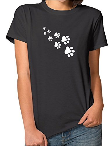 Funny Cute Love Dog Small Paw Print Short-Sleeve Crew Neck T Shirt For Female Black (Paw Print Neck)