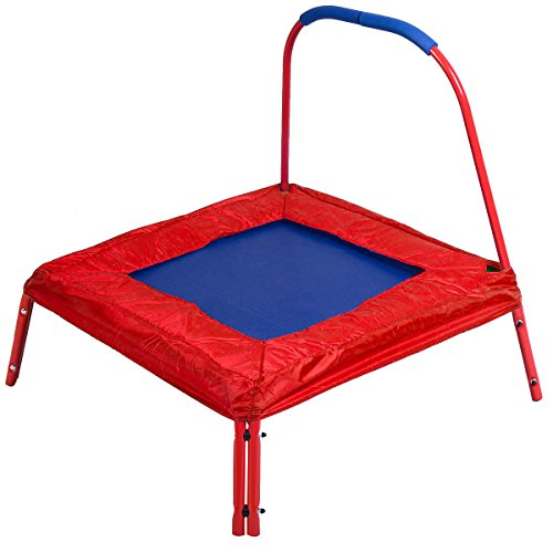 Giantex 3' X 3' Square Jumping Trampoline w/ Handle Bar and Safety Pad for Kids Blue/red (Red)