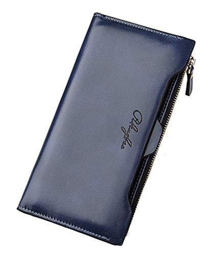 Huasen Evening Bag Womens Walllet RFID Blocking Bifold Multi Card Case Leather Wallet with Zipper Pocket Party Handbag (Color : Deep Blue, Size : ()