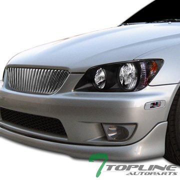 Topline Autopart Chrome Badgeless Vertical Front Hood Bumper Grill Grille Cover Conversion 01-05 Lexus Altezza IS200 IS300 (Lexus Chrome Grill)