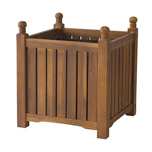 (DMC Products 70404 16-Inch Lexington Square Solid Wood Planter, Teak Oil)