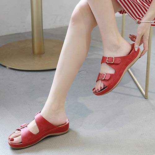 Slip On Pelle Estate Piattaforma Casuali Da Spiaggia In Donne Eleganti Sandali Pantofole Dimensioni Basse Grandi fibbia Red Confortevole Donna Incinte Delle Scarpe Metallo qtqwFrE