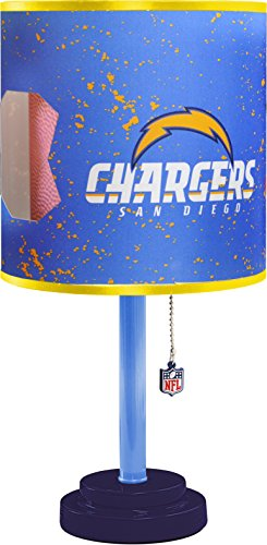 NFL San Diego Chargers Table Lamp with Die Cut Lamp Shade & CFL (San Diego Chargers Light)