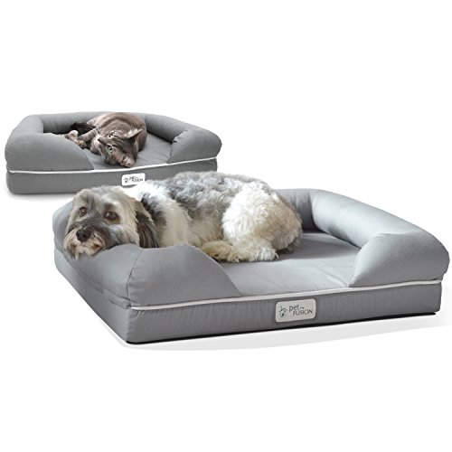 PetFusion Ultimate Dog / Cat Bed. (Small Gray, 25 x 20 x 5.5'). Premium Edition w/ Solid 2.5' Memory Foam. [Replacement covers also available]