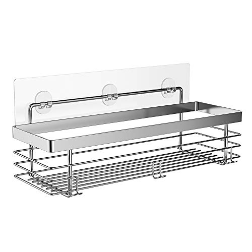 ODesign Shower Caddy Basket Shelf with Hooks for Shampoo Conditioner Bathroom Kitchen Storage Organizer SUS304 Stainless Steel - No Drilling ()