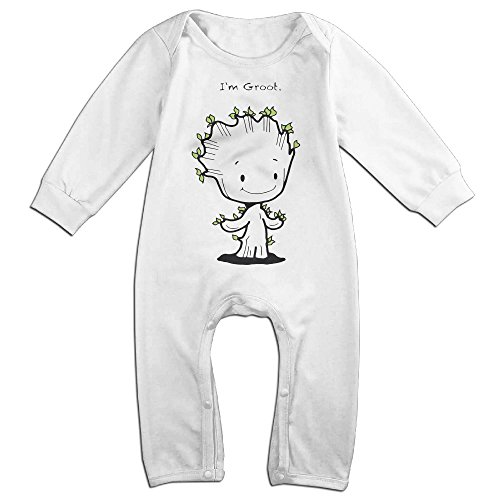 PCY Newborn Babys Boy's & Girl's I Am Groot The Cartoon Character Long Sleeve Jumpsuit Outfits For 6-24 Months White Size 6 (How To Make An Assassins Creed Costume)