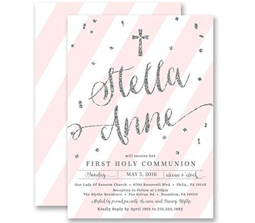 Twins Communion Invitations - Communion Invitations Girl Pink Striped Silver Glitter Look Personalized Boutique Invites with Envelopes- Stella style