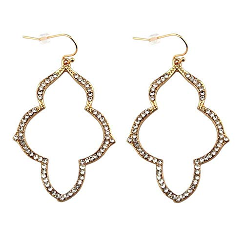 Cheap:cute 2019 New Popular Gold Arabesque Earrings for Women Pave Crystal Chandeliers Jewelry Wholesale,Gold ()