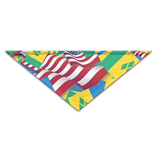 OLOSARO Dog Bandana Saint Vincent and The Grenadines Flag with America Flag Triangle Bibs Scarf Accessories for Dogs Cats Pets Animals ()
