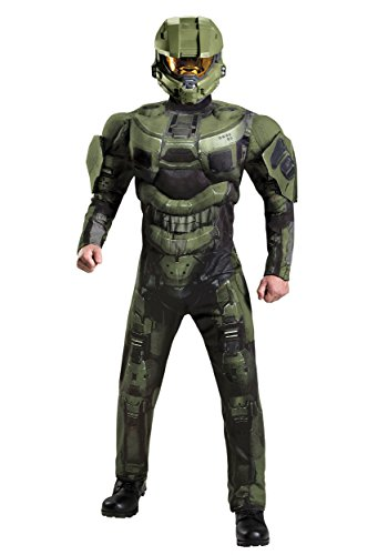 Disguise Men's Halo Deluxe Muscle Master Chief Adult Costume, Green, (Master Chief Halo Adult Mens Costumes)