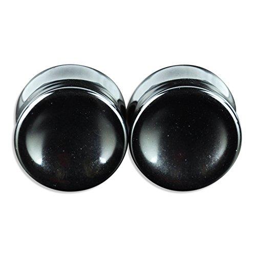 ArcticBuffalo Pair of Genuine Black Onyx Organic Natural Polished Stone Ear Gauges Plugs by ArcticBuffalo (Image #2)
