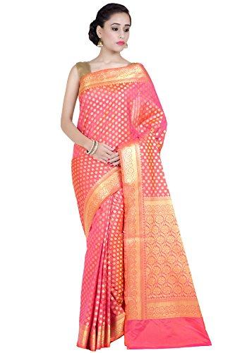 Chandrakala Women's Peach Kataan Silk Blend Banarasi Saree,Free Size(1268PEA) ()