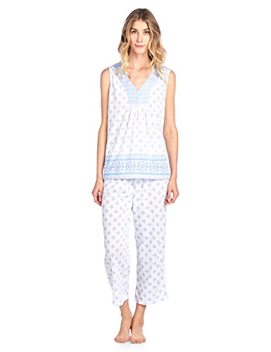 Casual Nights Women's Printed Sleeveless Tank Top & Capri Pajama Set - Blue - X-Large