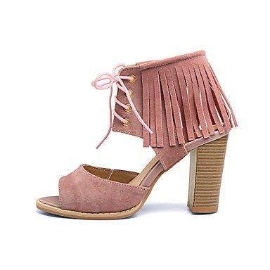 LvYuan Tacón Robusto-Gladiador Zapatos del club-Sandalias-Vestido Informal Fiesta y Noche-Semicuero-Negro Amarillo Rosa Rojo Pink