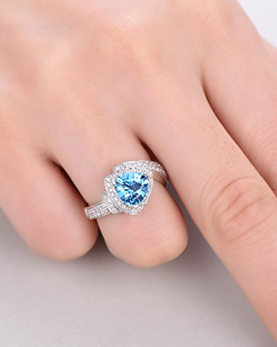 Blue Topaz Wedding Ring Trillion Cut 925 Sterling Silver White Gold CZ Diamond Halo Unique Engagement Set by Milejewel Topaz Engagement Ring (Image #5)