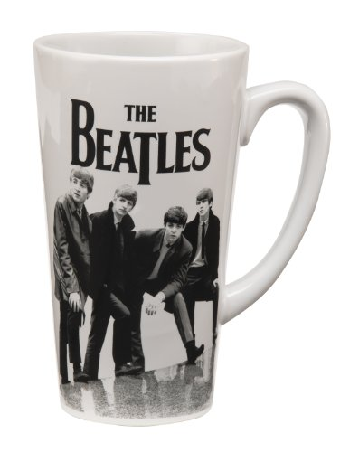 Vandor 64666 The Beatles Black and White 14 oz Latte Mug, Black and White