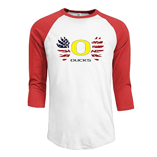 YI Own Men's Funny University Of Oregon Ducks 3/4 Sleeve Baseball T-Shirt Red