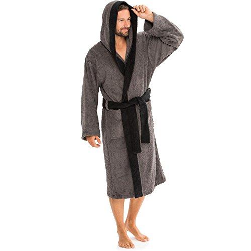 aqua-textil Bademantel mit Kapuze Baumwolle Morgenmantel Damen Herren Saunamantel Föhr einfarbig oder Sylt zweifarbig