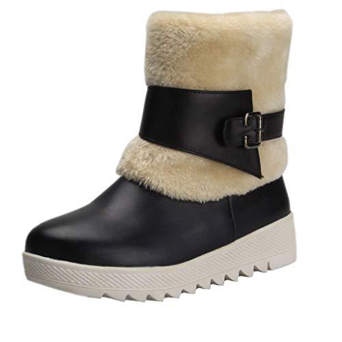 COPPEN Women Snow Boots Belt Buckle Casual Flat-with Short Plush Warm Shoes