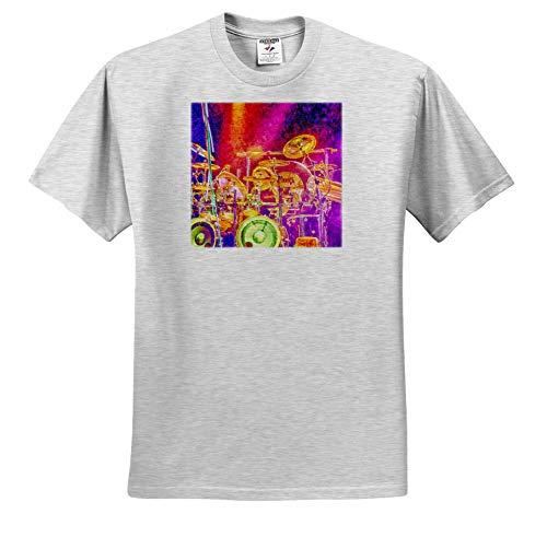 3dRose Susans Zoo Crew Music - Drummer Drumset Lights Music Musician - T-Shirts - Toddler Birch-Gray-T-Shirt (3T) (ts_294124_32) ()