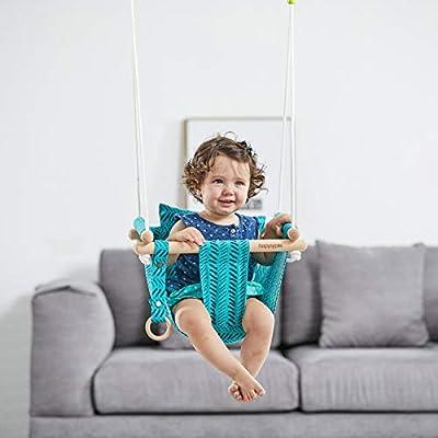 HAPPY PIE PLAY&ADVENTURE Secure Canvas Hanging Swing Seat Indoor Outdoor Hammock Toy for Toddler (Bright Green) : Garden & Outdoor