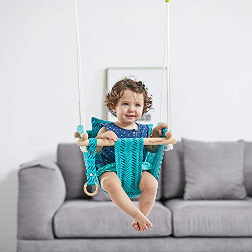 HAPPY PIE PLAY&ADVENTURE Secure Canvas Hanging Swing Seat Indoor Outdoor Hammock Toy for Toddler (Bright Green) (Baby Swings Toddler)