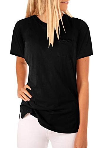 - Mafulus Womens Short Sleeve Shirts Crew Neck Casual Loose Solid Tunic Tops with Pockets