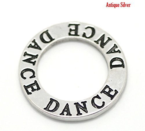 DANCE 20 Pc Circle Washer Charm Connector School Spirit Affirmation (Dance A Lot)
