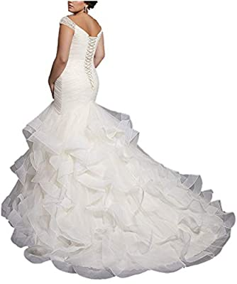 APXPF Women's Cap Sleeves Beaded Pleats Mermaid Wedding Dresses Organza Bridal Gown Plus Size