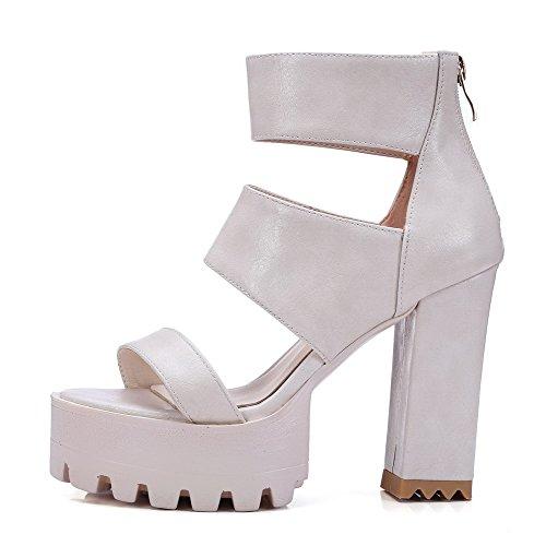 VogueZone009 Women's Soft Material Open Toe High Heels Zipper Solid Sandals Beige pQFud8j