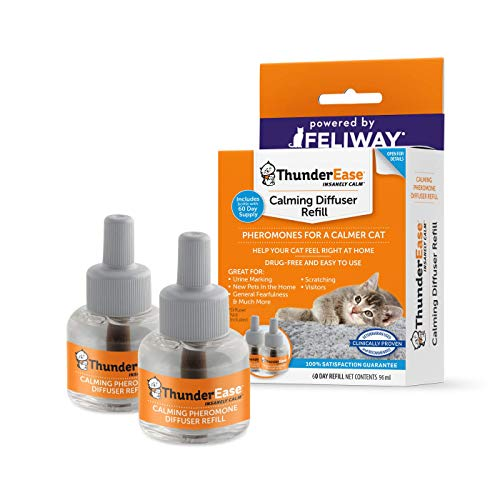 ThunderEase Cat Calming Pheromone Diffuser Refill - Reduce Scratching, Urine Spraying, Marking, and Anxiety (60 Day Supply)