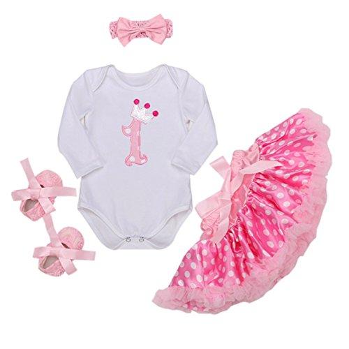 Long Sleeves Baby Girls' 4PCs 1st Birthday Dress Polka Dots Skirt Headband Shoes (9M(6-9months), (Polka Dots Satin Headband)