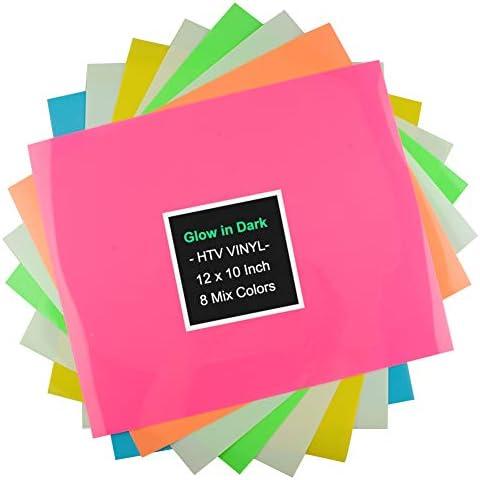 Viewmoi Neon Heat Transfer Vinyl HTV for T-Shirts 5 Colors 10 Pack 10 Sheets 10x12 Fluorescent HTV Vinyl