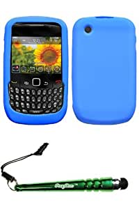 FoxyCase(TM) FREE stylus AND BLACKBERRY 8520 (Curve) Solid Skin Cover (Dark Blue) cas couverture