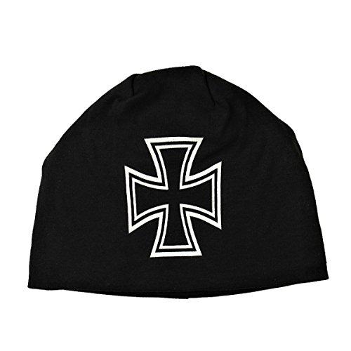 Black Iron Cross Jersey Knit Beanie Hardcore Metal Headwear Biker Cap Apparel