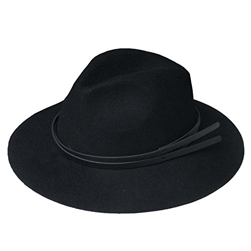 missfiona Women's Wide Brim Wool Felt Fedora Hat Black Vintage Warm Panama (Patent Leather Hat Band)