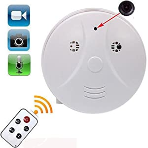 4 Function Video/Pic/Voice/Motion Detect HD Hidden Camera Smoke Fire Detector Shape Secret Spy Tool Evident Record for Room Apartment Protect Secret Cam Stranger Activities Watcher AL1-7