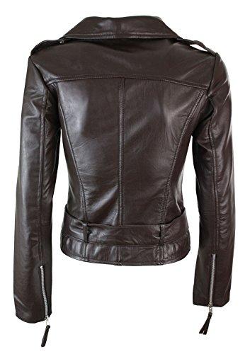 cuero mujer cremallera motorista y para Marron cinturón con vintage ajustada de estilo Chaqueta qAwtxnZn