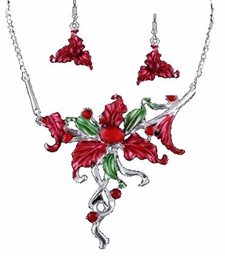 Parure fleur et boucles grosses fleurs rouge