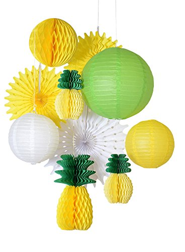 Paperjazz Summer Party Honeycomb Pineapple Ball Tropical Hawaiian Party Festival Paper Lantern Paper Fan Decoration -