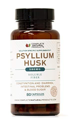 (Pure Natural Whole Psyllium Husk Powder Capsules - 580mg Capsules 80 Pure Unflavored Fiber & Colon Cleanse Pills)