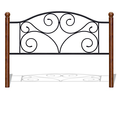 Cheap Fashion Bed Group Doral Metal Headboard Panel with Decorative Scrollwork and Walnut Colored Wood Finial Posts, Matte Black Finish, Full